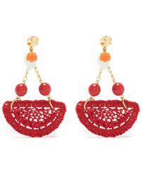 Amir Slama Crochet Earrings - Red