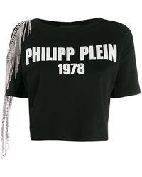 Philipp Plein オープンショルダー Tシャツ - ブラック