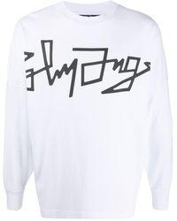 Palm Angels Sweatshirt mit Logo-Print - Weiß