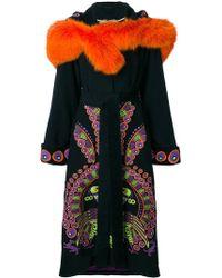 Yuliya Magdych Peacock Hooded Embroidered Coat - Black