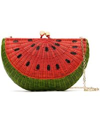 Serpui Watermelon Woven Style Clutch Bag - Red