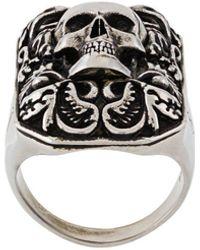 Alexander McQueen Ring Met Gegraveerde Doodskop - Metallic