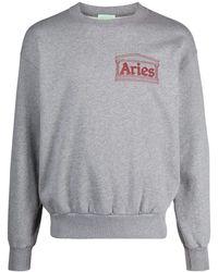 Aries ロゴプリント プルオーバー - グレー