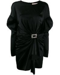 Alexandre Vauthier シャーリング ミニドレス - ブラック