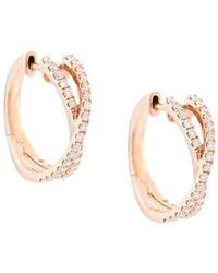 Marchesa - 18kt Rose Gold Diamond Cross-over Small Hoops - Lyst