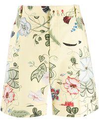 Gucci Shorts con estampado floral - Amarillo