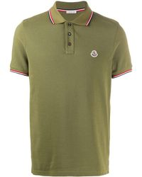 Moncler Poloshirt Met Gestreepte Afwerking - Groen