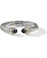 David Yurman Cable Classics 14kt Yellow Gold Detailed And Onyx 10mm Cuff - Metallic