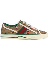 Gucci + Disney Printed Canvas Sneakers - Brown