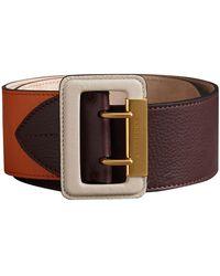 Burberry - Colour Block Grainy Leather Belt - Lyst