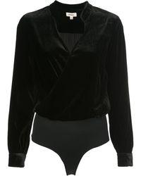 L'Agence Vネック ボディスーツ - ブラック