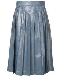 Bottega Veneta レザー プリーツスカート - ブルー