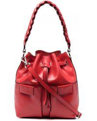 Orciani Drawstring Leather Shoulder Bag - Red