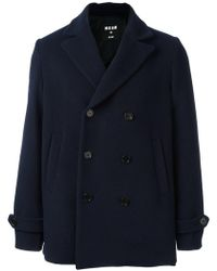 MSGM - Double Breasted Peacoat - Lyst