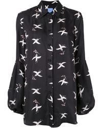 Macgraw St. Clair Printed Silk Twill Shirt - Black