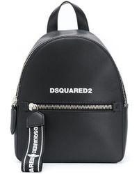 DSquared² Logo Strap Leather Backpack - Black