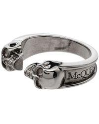 Alexander McQueen Ring Met Dubbele Doodskop - Metallic