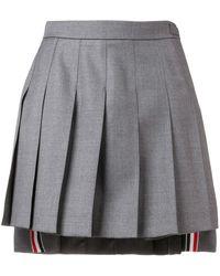 Thom Browne Striped Pleated Fun Mix Mini Skirt - Grey