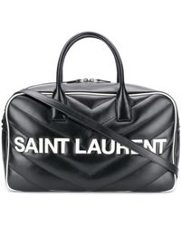 Saint Laurent Logo Patch Quilted Holdall - Black