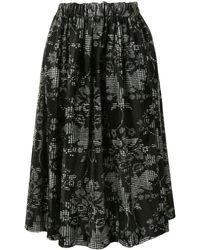 Comme des Garçons バロックプリント ギャザースカート - ブラック