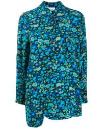 Ganni Shirt Met Bloemenprint - Blauw
