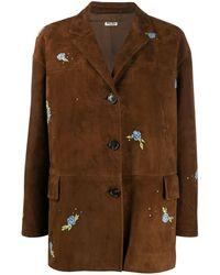 Miu Miu Floral Embroidered Jacket - ブラウン