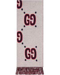 Gucci Intarsien-Schal mit GG - Weiß