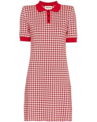 ShuShu/Tong Gingham Knitted Polo Dress - Red