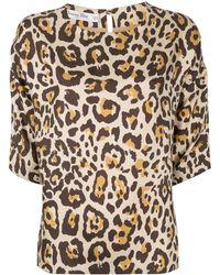 Dior Топ С Рукавами Три Четверти И Леопардовым Принтом - Коричневый
