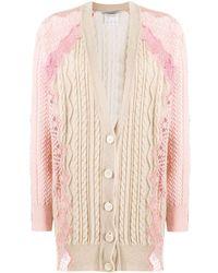 Stella McCartney Кардиган Фактурной Вязки С Цветочным Кружевом - Розовый