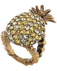 Gucci Bague Ananas ornée de cristaux - Métallisé