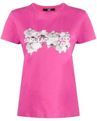 Karl Lagerfeld - Orchid ロゴ Tシャツ - Lyst