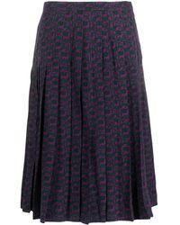 Hermès Gonna plissettata con stampa in seta Pre-owned - Viola