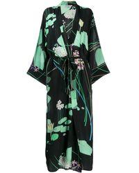 BERNADETTE Kimono Jurk Met Bloemenprint - Zwart