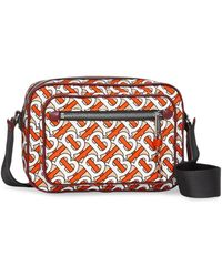 Burberry Monogram Print And Leather Crossbody Bag - Red