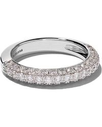 De Beers - 18kt White Gold Db Darling Half Pavé Diamond Large Band - Lyst