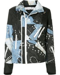 Dior Pre-owned Denim And Leather Print Zipped Jacket - Blue