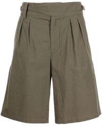 White Mountaineering Pleat-detail Bermuda Shorts - Green