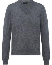 Prada カシミア Vネックセーター - グレー