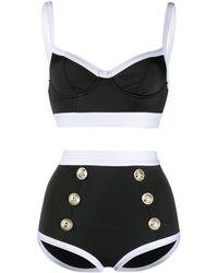 Balmain Bikini bicolore à boutons décoratifs - Noir