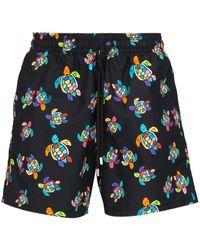 Vilebrequin Moorea Turtle Print Swim Shorts - Black