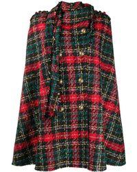 Balmain Tartan-pattern Tweed Cape - Black