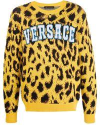 Versace Trui Met Luipaardprint - Geel