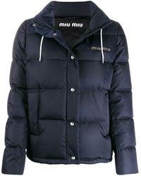 Miu Miu フーデッド パデッドジャケット - ブルー