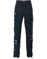 Hood By Air - Destroyed Effect Trousers - Lyst