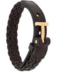 Tom Ford T Logo Braided Bracelet - Brown