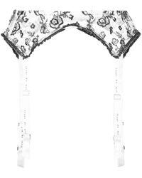 Fleur du Mal Forget Me Not Garter Belt - White