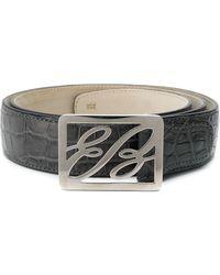 Brioni Crocodile-embossed Logo Belt - Multicolor