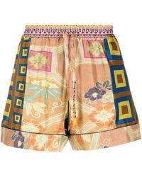Pierre Louis Mascia Aloe Patchwork-print Silk Shorts - Yellow