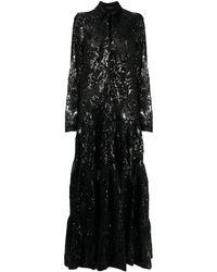 Gianluca Capannolo Sequin Floral Gown - Black